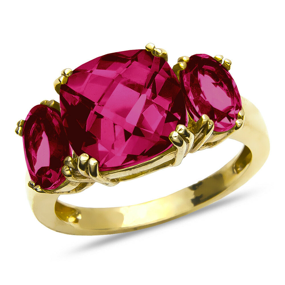 Women's Created Red Ruby July Birthstone Ring SOLID 10k Yellow gold many sizes