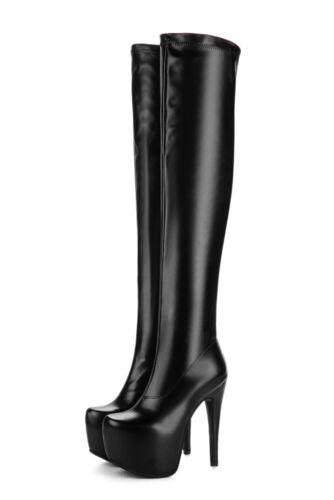 Cuissardes Femmes Slim Bottes Cuir Daim Plateforme Talon Haut Fermeture Éclair Chaussures SZ