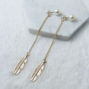 01f36c52ed47c Details about Elegant Women Gold Pearl Leaf Dangle Thread Long Threader  Earrings