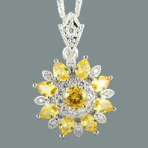 Round-Yellow-Citrine-18K-White-Gold-Plated-Flower-Pendant-Necklace-Curb-Chain