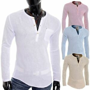 adbc602afd9e Men s Casual V Neck Canvas Shirt Henley Summer 100% Cotton Slim Fit ...
