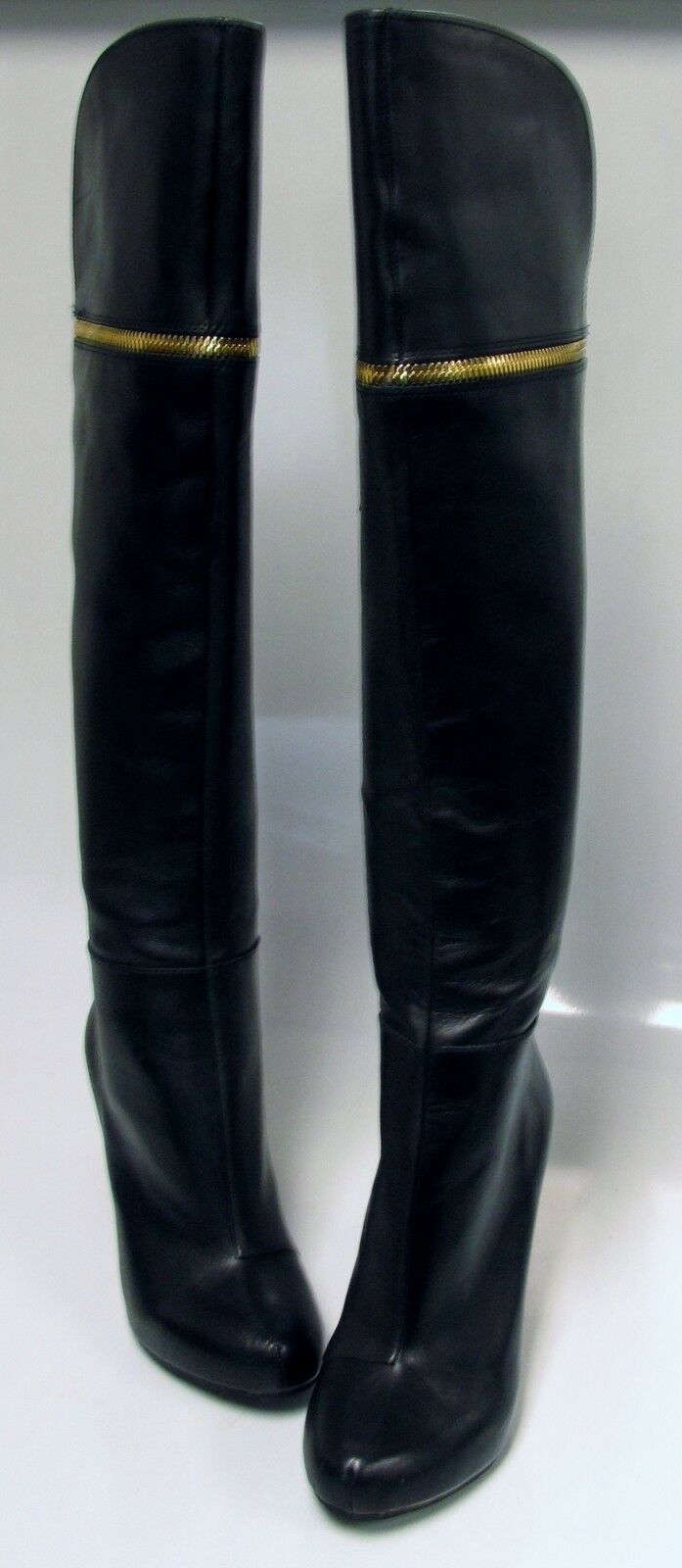 BAR III Women's CECIL Over the Knee Black Leather Dress Boots US 7 M 4