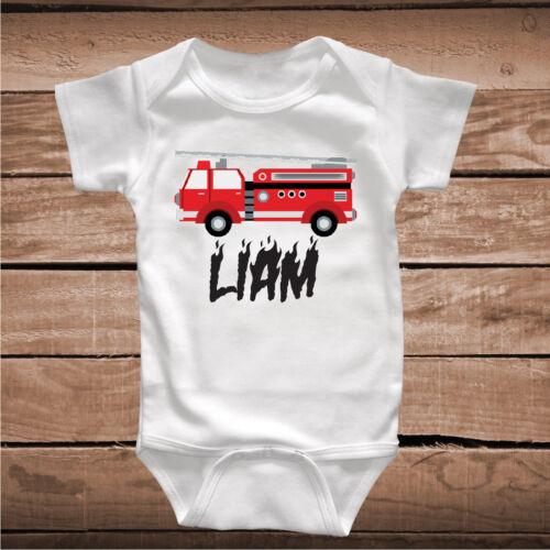 cc96 Firetruck Tee Tees Shirt With Custom Name Boys Birthday t-Shirt Boy Gift