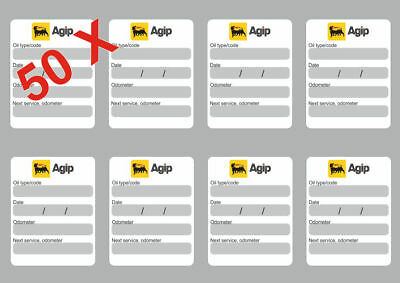 8x AGIP Oil Change Service Reminder Decals Stickers Adhesive Labels Die Cut