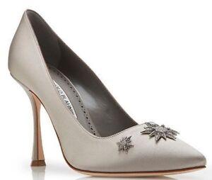 132e5af7947f  925 NEW Manolo Blahnik GHAZALISI BB Pumps Satin Grey Jeweled Shoes ...