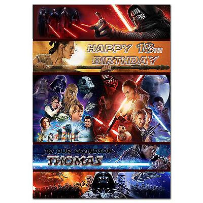025 Personnalise Carte Anniversaire Star Wars 7 La Force Se Reveille Pour Tout Age Nom Ebay