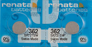 2 x Renata 362 Watch Batteries, 0% MERCURY equivalent SR721SW, Swiss Made