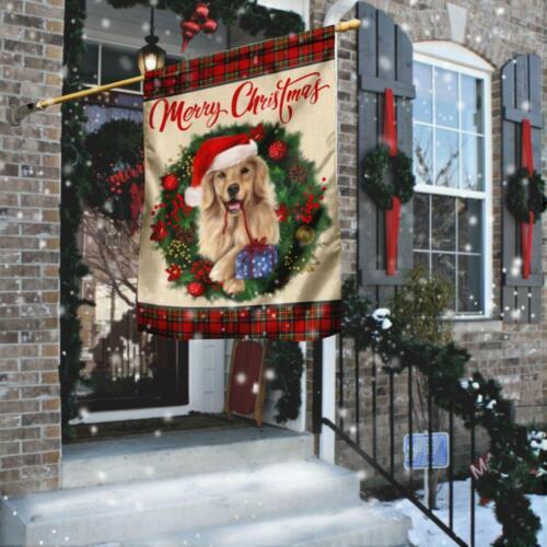 Merry Christmas Golden Retriever House and Garden Flag Frint  US hot trend  flag