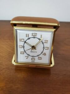 Vintage-EQUITY-Wind-Up-Travel-Alarm-Clock-Brown-Clam-Shell-Case