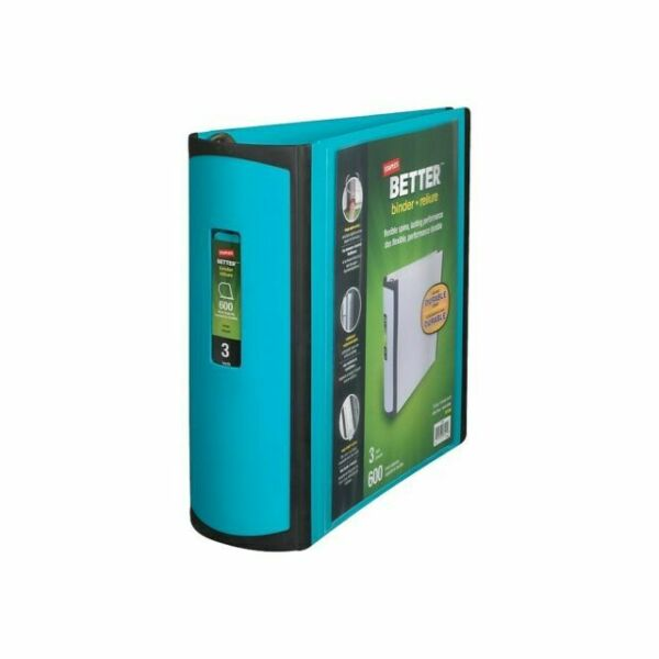 Staples 3 Inch Betterview Binder With D-rings Teal For