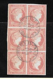 Espana-Bloque-de-6-sellos-del-4-ctos-con-matasello-de-fecha-azul-Tipo-I