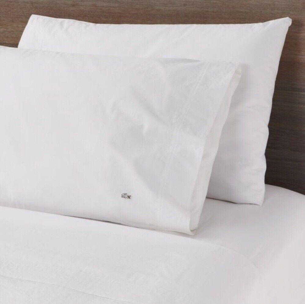 Lacoste 100% Cotton King Pillowcase Set, White