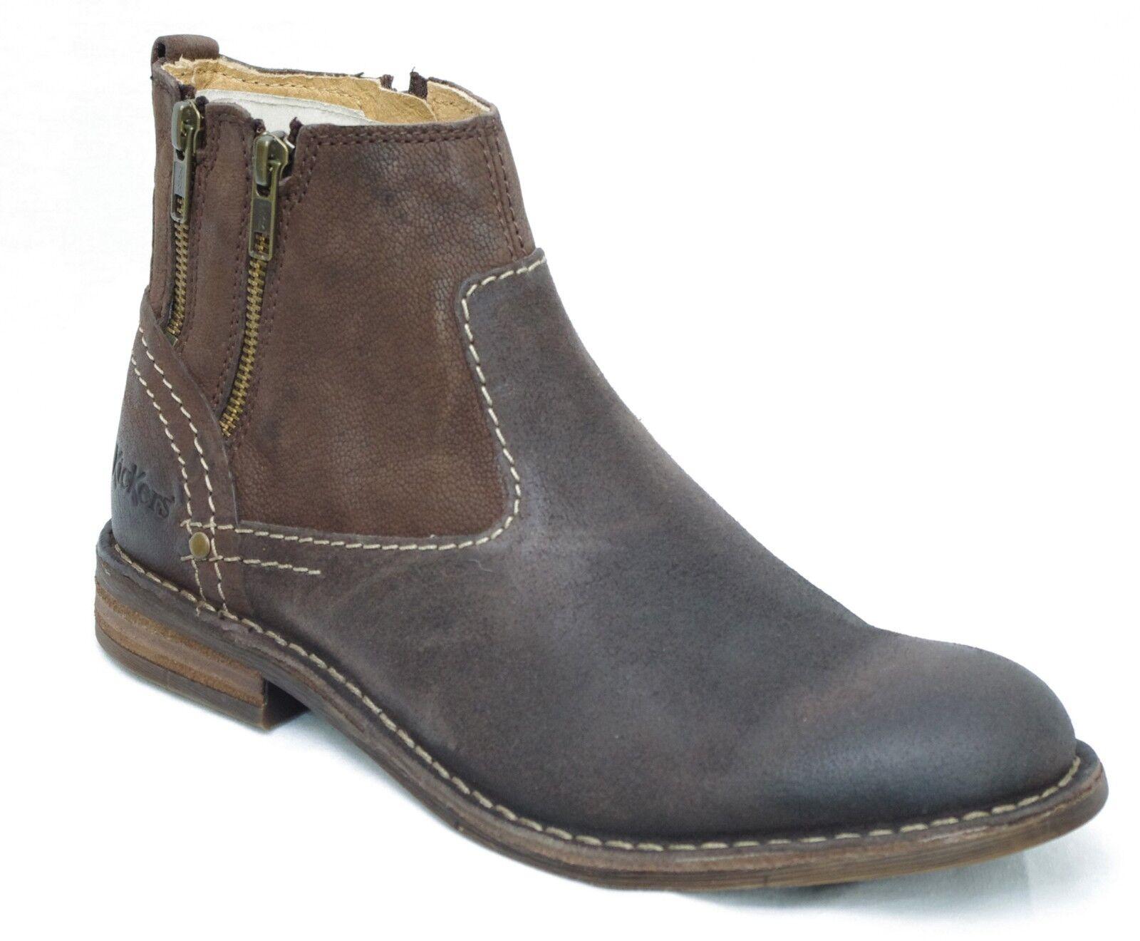 KICKERS BARVAL chaussures boots cuir nubuck Marron Foncé homme 507890 - 92