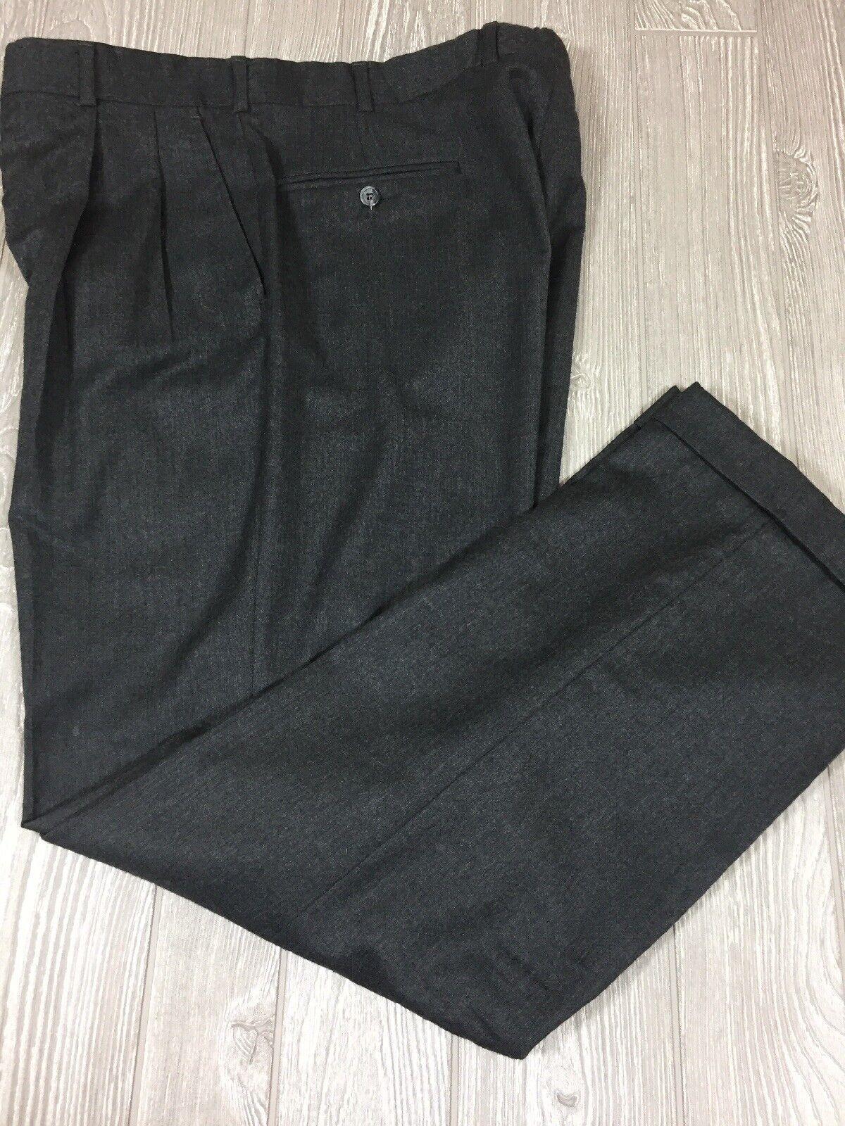 Brooks Bredhers Mens Dark Grey Pleated Wool Dress Pants 35x31.5 (3u)