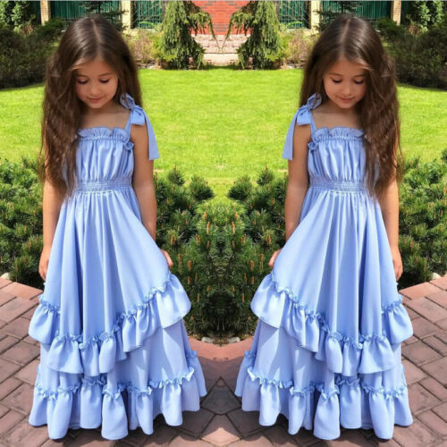 UK Flower Girl Kids Dress Formal Princess Pageant Wedding Birthday Party Dresses