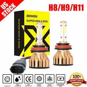 4 Sides CREE LED Headlight Lamp H11 H9 H8 Low Beam Bulb 2000W 300000LM 6000K