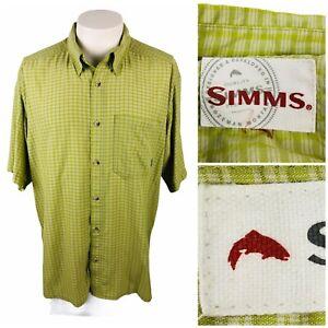 "SIMMS Mens XL Shirt Short Sleeve Button Front Outdoors Hiking Fishing Green 50"""