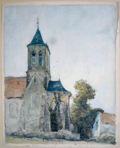 Aquarell Unterzeichnet Und Datiert 1903 Strong Packing Smart Frank-boggs Kirche Von Mareuil