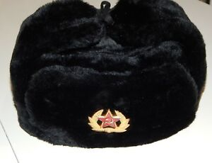 efd3e0f6ad8 Soviet Russian army soldier winter cap hat ushanka+ Red star Badge ...