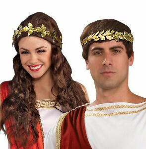 Gold Leaf Crown   Headband Metal Fancy Dress Party Accessory Cesar ... 6abed2d2413