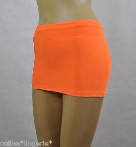 acheter populaire 6f04a 19273 Détails sur Neon orange matt lycra extensible mini jupe courte club corps  plage femme sexy H200- afficher le titre d'origine