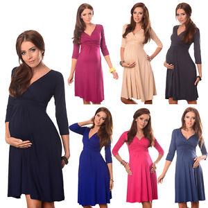 Purpless 3/4 Sleeve Pregnancy Maternity Casual Vneck Women's Dress Top D4400