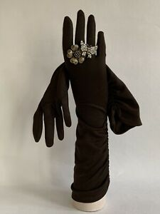 Vintage-1950s-Brown-Side-Pattern-Gathered-15-Nylon-Evening-Opera-Gloves-Size-7