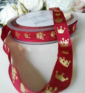 3 M Fil Dekoband Webband Couronnes Royal Rouge Or Tronc Roi Moyen Age Deco-afficher Le Titre D'origine Nombreux Dans La VariéTé