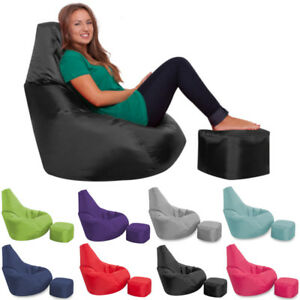 Incredible Details About Bean Bag With Foot Stool Gamer Chair Indoor Outdoor Garden Beanbag Seat Gaming Machost Co Dining Chair Design Ideas Machostcouk