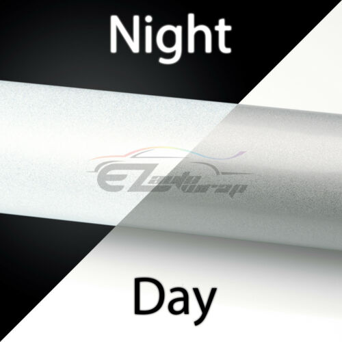 """*48/""""x60/"""" Reflective White Vinyl Wrap Sticker Decal Graphic Sign Adhesive Film"""