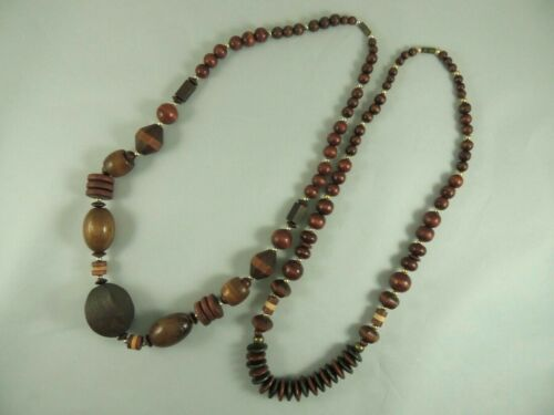 2 NECKLACE SET VINTAGE ETHNIC WOOD AFRICAN MID CEN