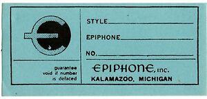Adroit 1960 S Epiphone/gibson étiquette Intérieure-casino/riviera Etc.-afficher Le Titre D'origine Une Performance SupéRieure