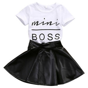 c668b15b1 US Toddler Girls Outfits Clothes Casual T-shirt Tops+PU Leather ...