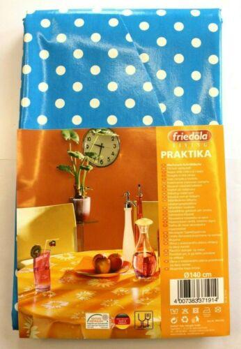 friedola Living Wachstuch Tischdecke rund Ø 140 cm Polka blau Garten Neu OVP