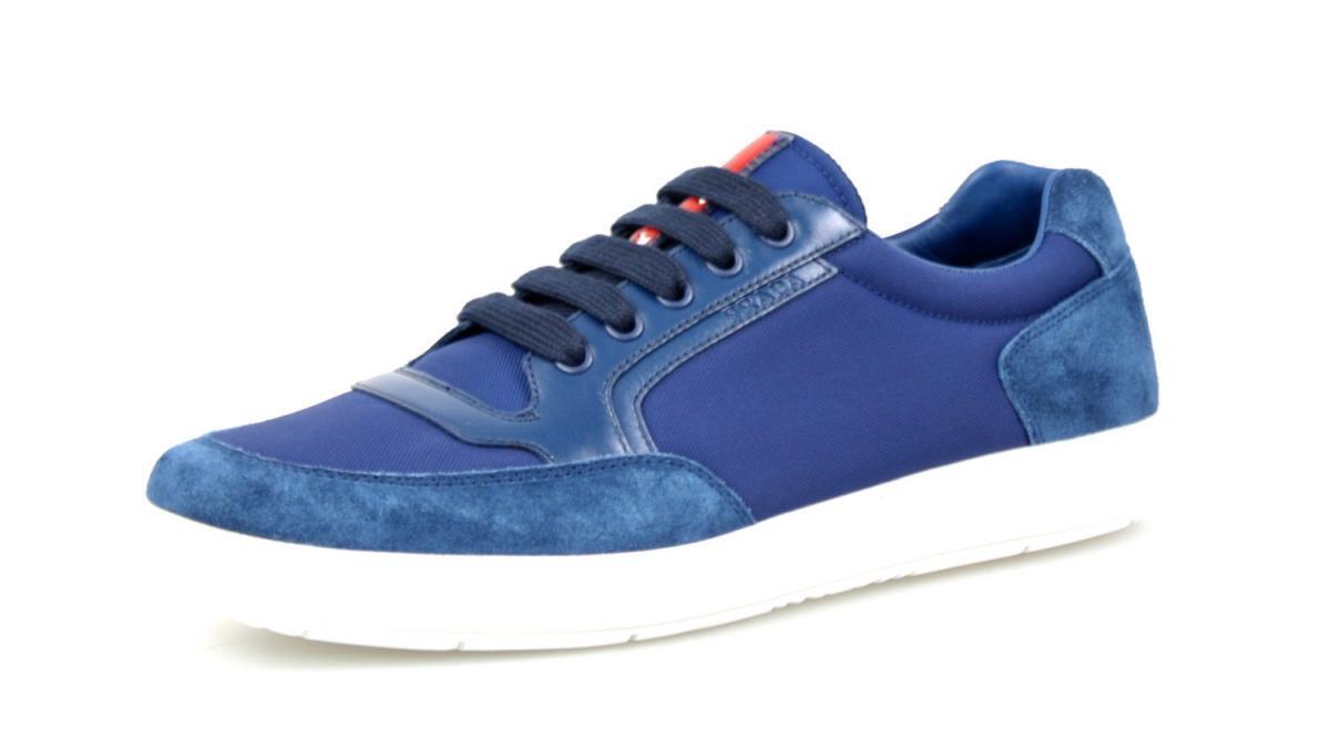 AUTHENTIC LUXURY PRADA SNEAKERS SHOES 4E2841 blueE NEW US 7.5