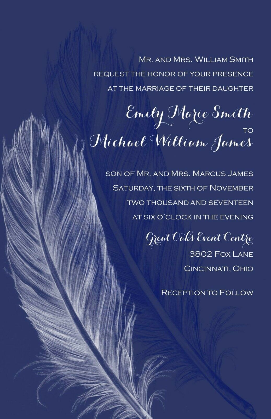 Wedding Invitations Feathers Rustic Country 50 Invitations & RSVP Cards