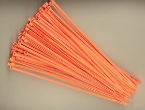 "100 8"" Inch Long 40# Pound FLUORESCENT ORANGE Nylon Cable Zip Ties Wrap MADE USA"