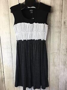 New-Spense-Women-039-s-Sleeveless-Dress-Black-White-Polka-Dot-Size-M