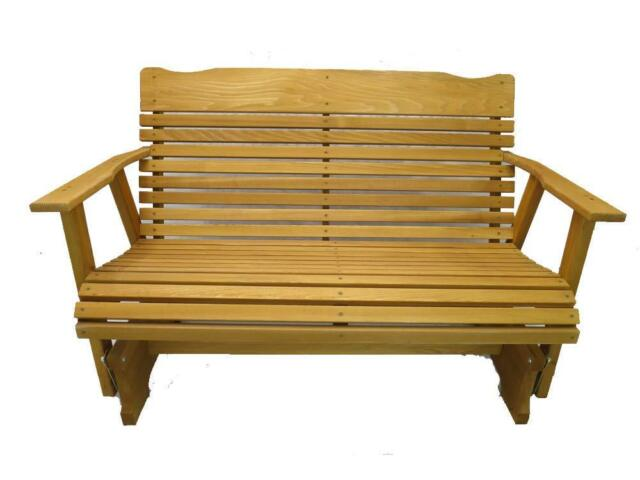 Wood Glider Bench Outdoor Patio Furniture Garden Deck Rocker Porch Amish Crafted