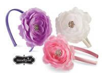 Mud Pie Baby Buds Jeweled Flower Hard Headband Purple White Pink - Discontinued