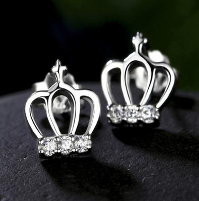 925 Silber Pl. Ohrringe Krone Ohrstecker Strass Kinder Mädchen Damen Geschenk Attraktive Mode