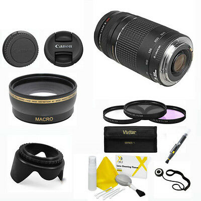 Canon EF 75-300mm f/4.0-5.6 III Lens+WIDE ANGLE KIT +GIFTS FOR CANON 750D 1100D