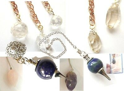 1 x QUARTZ, HERKIMER DIAMOND, LAPIS LAZULI or CHRYSOCOLLA GEMSTONE PENDULUM New