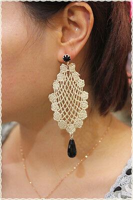 orecchini in pizzi macrame panna fili oro artigianali  punto luce oro metallico