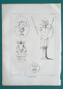 ROMAN-MILITARY-amp-Naval-Trophies-1804-Antique-Copperplate-Print