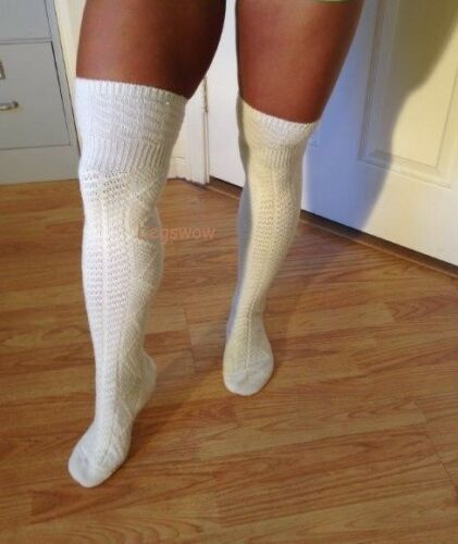 Cable Knit Over The Knee Socks Thick Cozy White Black Brown Gray Slouch Boot OTK