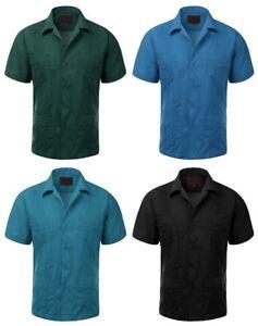 Guayaberas-Men-039-s-Short-Sleeve-Casual-Beach-Wedding-Bartender-Dress-Shirts