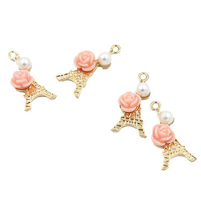 10x Gold Plated Alloy Tower Flower&Pearls Charms Pendants Fit Jewelry Findings D