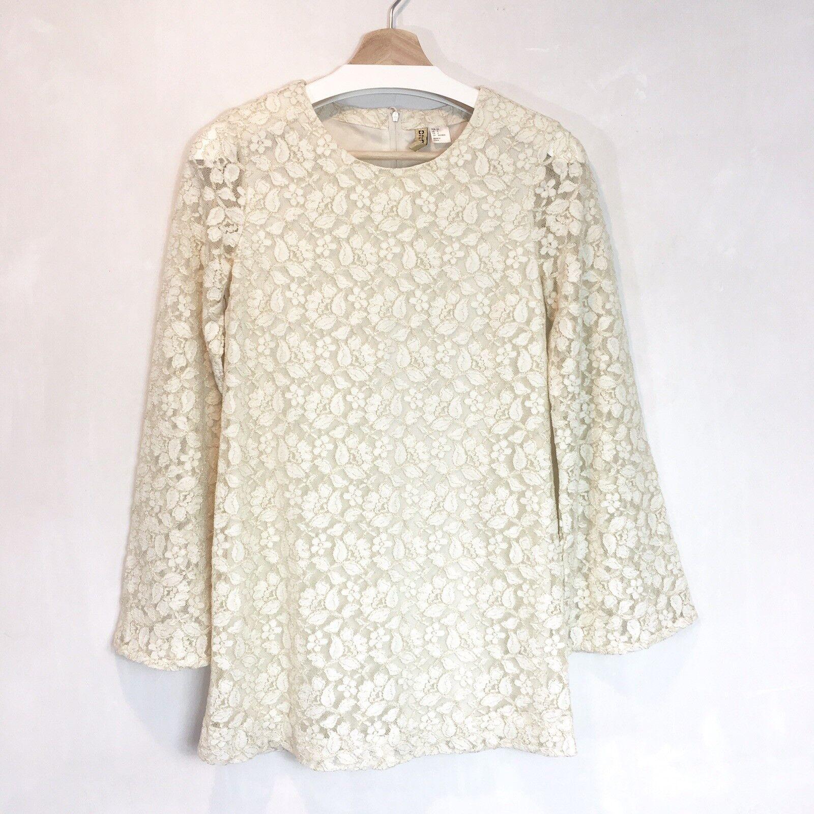 H&M Womens Ivory gold Lace Bell Sleeve Mini Dress Tunic Mod Boho Sz 34 4