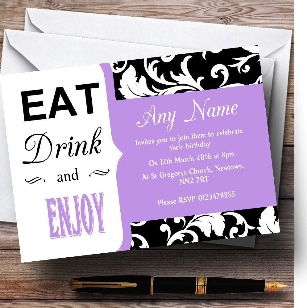 púrpura Vintage Damasco Come la Bebida Personalizada, fiesta De Cumpleaños Invitaciones